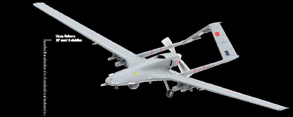 BAYRAKTAR TB2 Bayraktar TB2 Taktik Silahlı İnsansız Hava Aracı, keşif ve istihbarat görevleri için orta irtifa-uzun havada kalış süresi sınıfına giren (MALE) insansız hava aracıdır. Üç yedekli aviyonik sistemleri ve sensör füzyon mimarisi ile tamamen otonom taksi, kalkış, iniş ve normal seyir kabiliyetine sahiptir. 300.000 saattenfazla uçan TB2, Türk Silahlı Kuvvetleri, Jandarma ve Emniyet Müdürlüğü bünyesinde 2014'ten bu yana aktif olarak hizmet etmektedir. Şu anda Türkiye ile beraberihraç edildiği Katar, Ukrayna ve Azerbaycan'da toplam 160 adet Bayraktar S/İHA Platformu görev yapmaktadır . Bayraktar TB2, Türk havacılık tarihinde havada kalma (27 Saat 3 Dakika ) süresi ve irtifa (27 bin 30 feet) rekorunu kırmıştır. Bayraktar TB2 bu ölçekte ihraç edilen ilk hava aracı ünvanını da taşımaktadır.